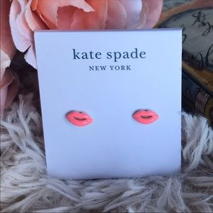 Kate Spade Gold and Pink Lip Earrings